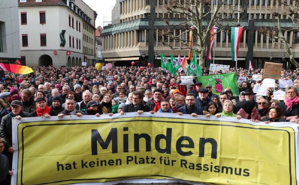 الوقفة الاحتجاجية ضد التطرف اليميني في مدينة ميندن